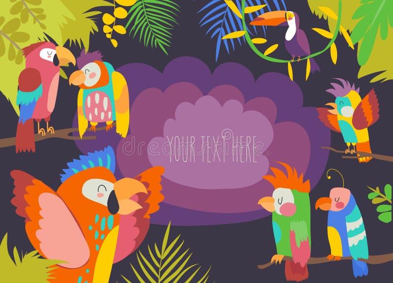与鹦鹉的动画片热带天堂框架 库存例证