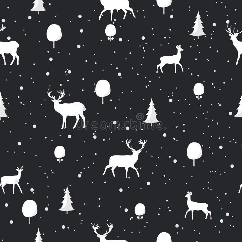 与鹿剪影的无缝的圣诞节样式在黑背景 皇族释放例证