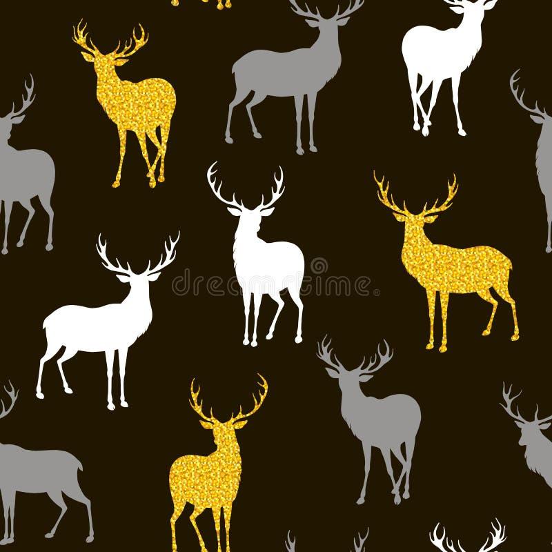 与鹿剪影的无缝的圣诞节样式  皇族释放例证