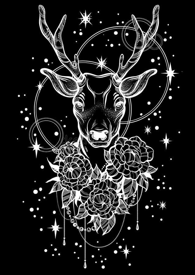与鹿和牡丹的手拉的时髦传染媒介例证开花在夜空背景 纹身花刺艺术 向量例证