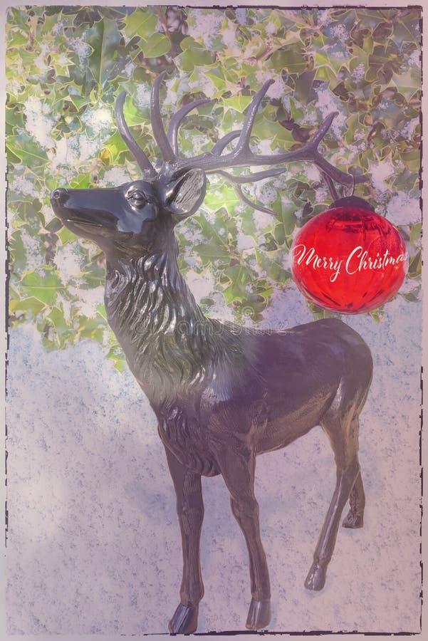 与鹿和红色球的圣诞卡 免版税库存照片