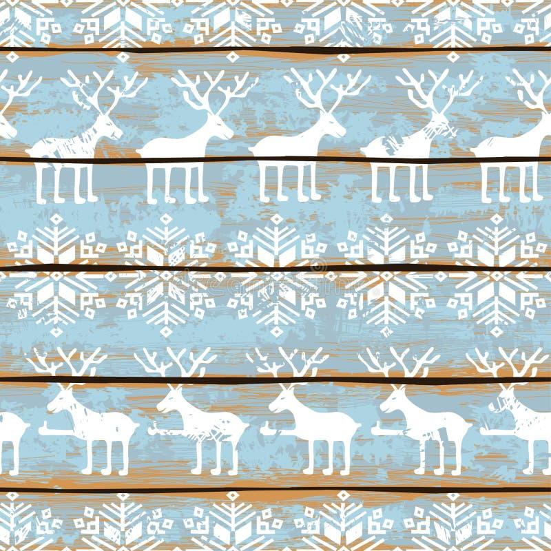 与鹿和雪花的圣诞节无缝的样式 库存例证