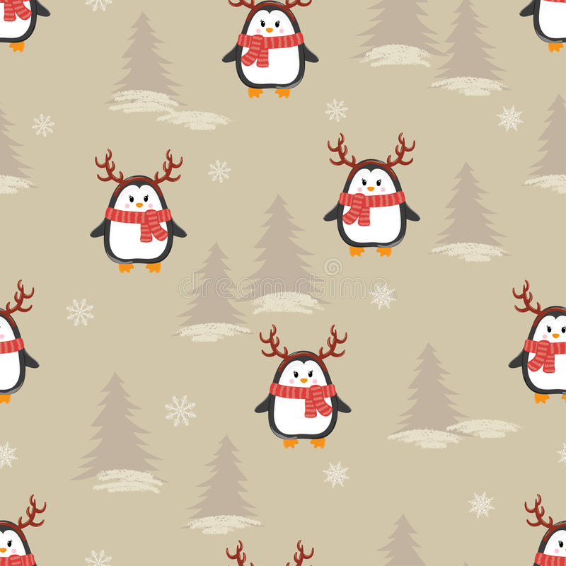 与鹿垫铁无缝的样式的逗人喜爱的动画片企鹅 库存例证