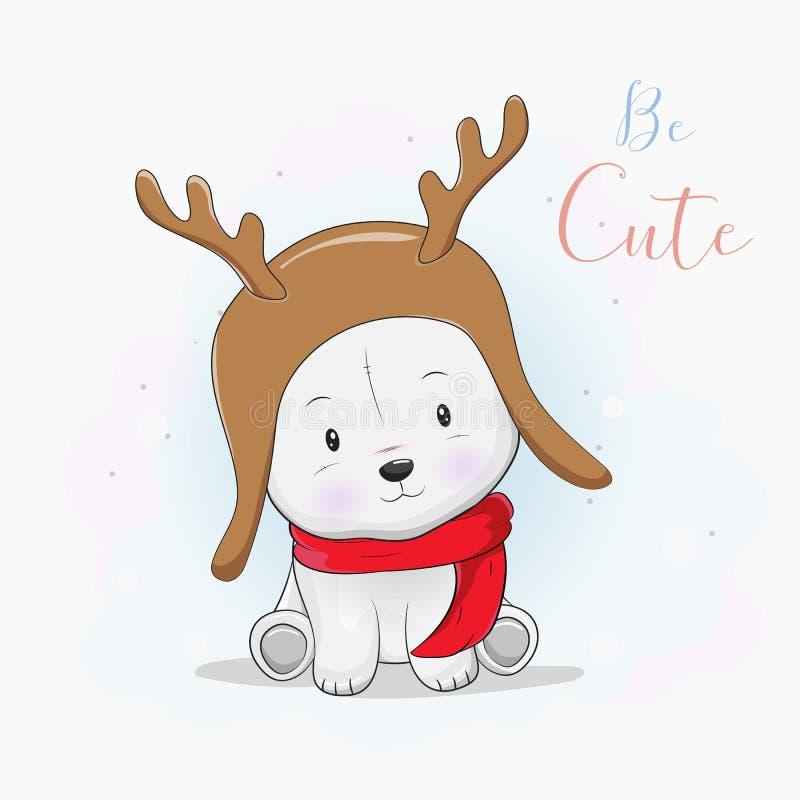 与鹿帽子和围巾的逗人喜爱的北极熊 库存例证