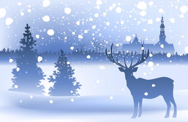 与鹿的冬天风景 向量例证