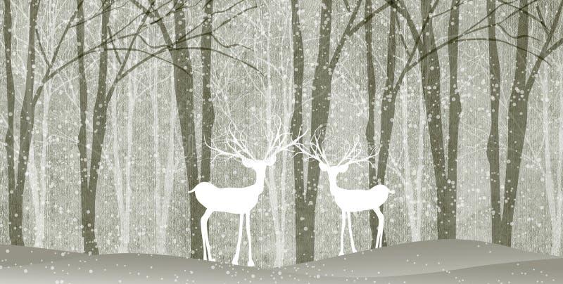 与鹿的冬天风景 库存例证
