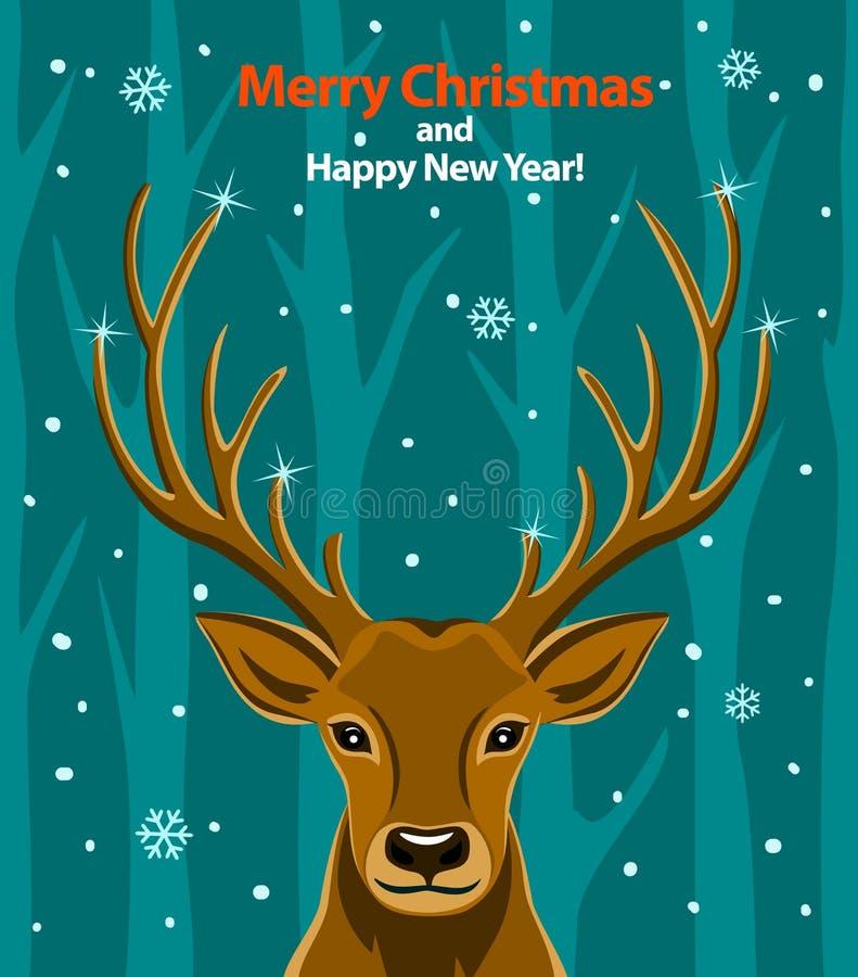 与鹿的圣诞快乐和新年快乐季节性冬天贺卡在雪和森林 向量例证