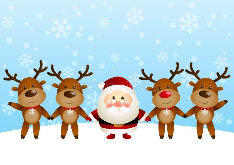 与鹿的圣诞老人 向量例证