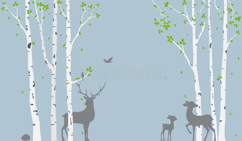 与鹿的桦树和鸟现出轮廓墙纸贴纸的背景 库存例证