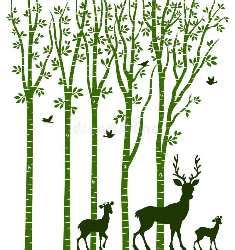 与鹿的桦树 向量例证