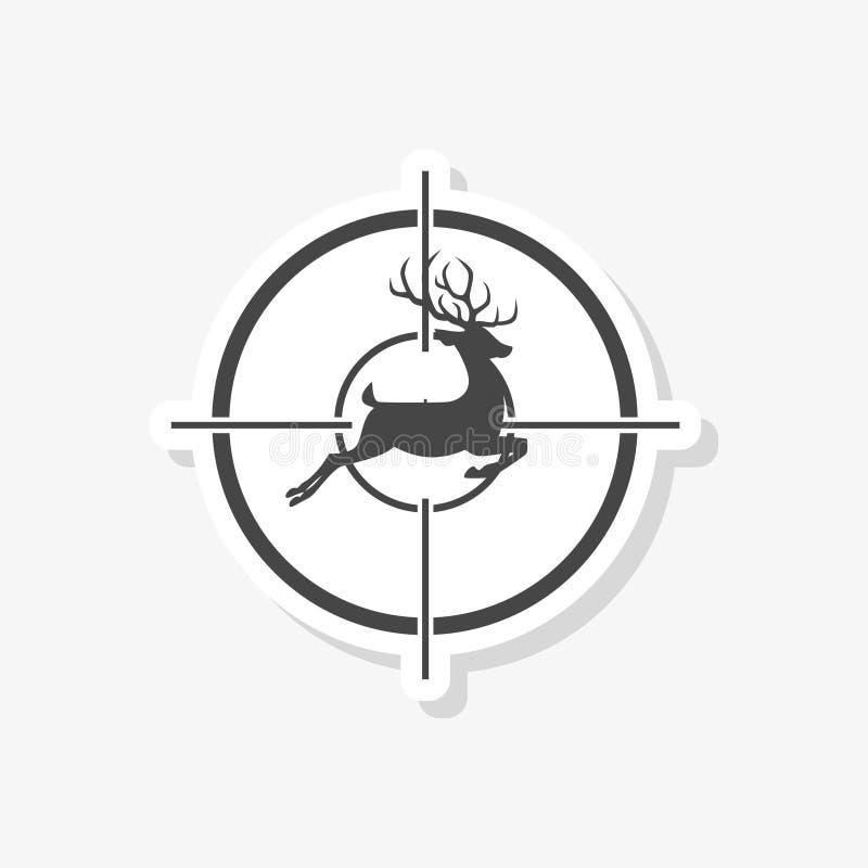 与鹿的狩猎期在射击瞄准具贴纸,简单的传染媒介象 向量例证