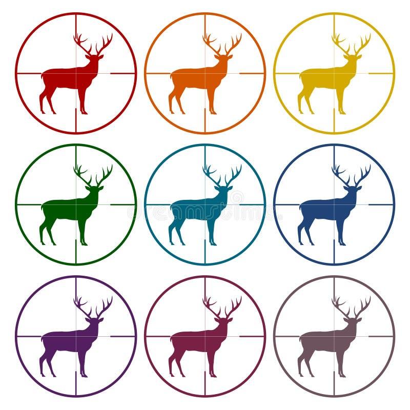 与鹿的狩猎期在被设置的射击瞄准具象 向量例证