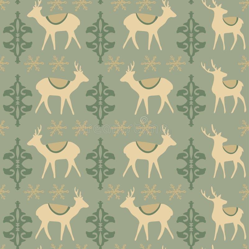 与鹿的葡萄酒圣诞节无缝的样式 向量例证