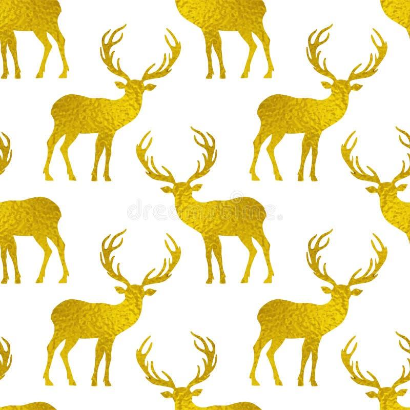 与鹿金黄剪影的无缝的样式  皇族释放例证