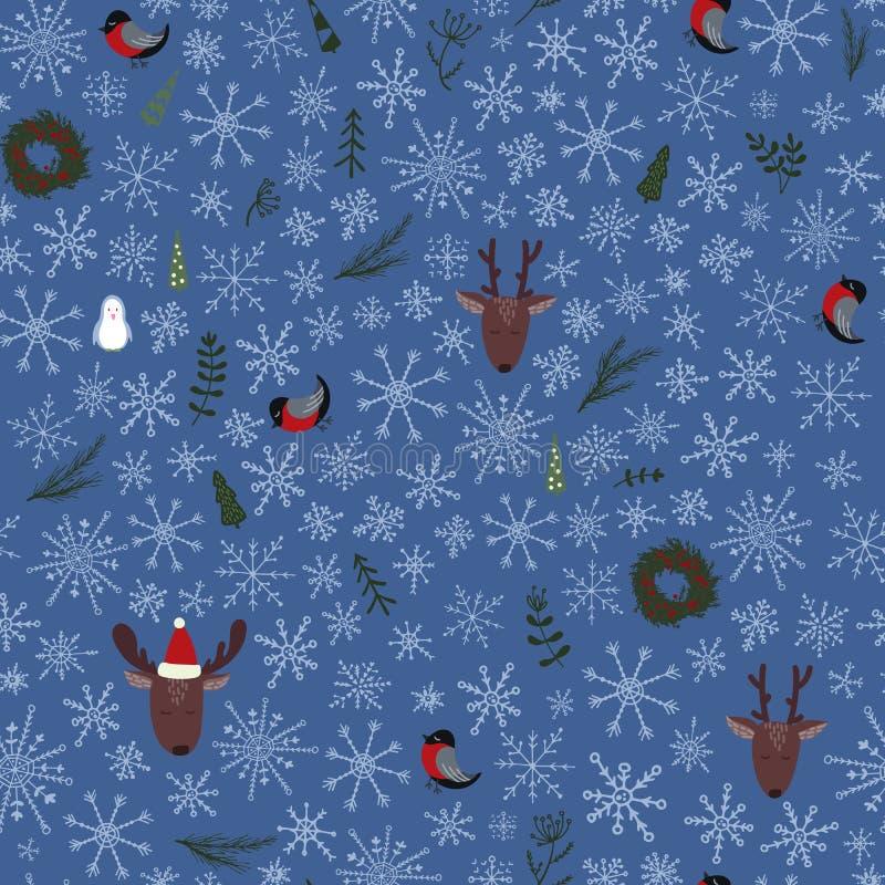 与鹿, pinguin,红腹灰雀的圣诞节无缝的样式 向量例证