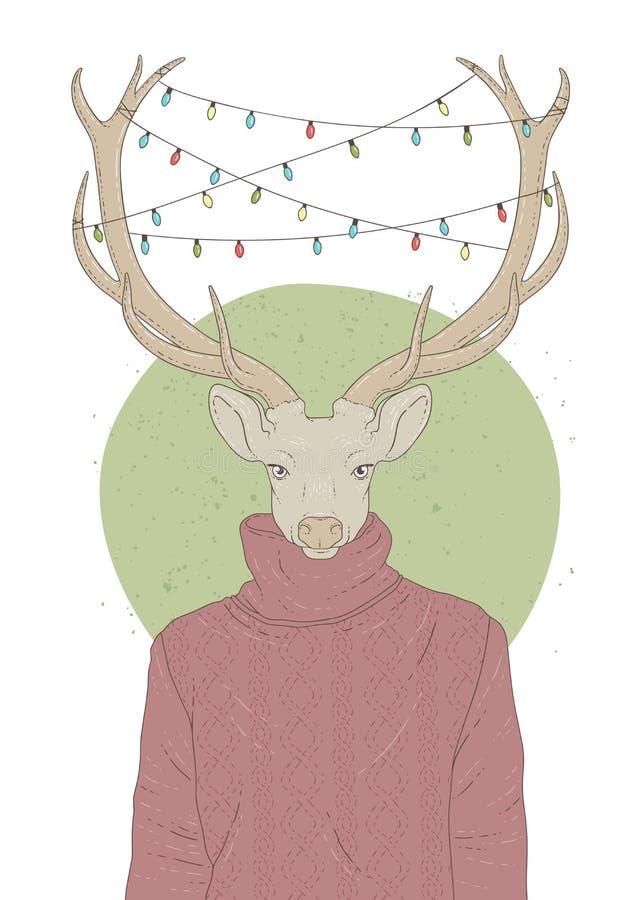 与鹿画象的例证在套头衫和圣诞节诗歌选的 库存图片