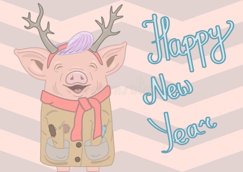 与麋的垫铁、紫色发型、佩带的米黄外套和红色围巾的微笑的piggie与此外信件新年快乐 皇族释放例证