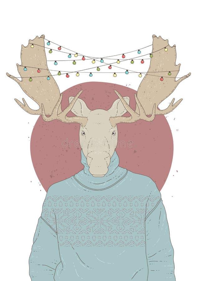 与麋画象的例证在套头衫和圣诞节诗歌选的 免版税库存照片