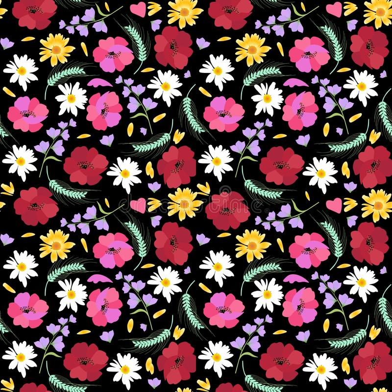 与麦子、万寿菊、鸦片、雏菊和在黑背景隔绝的吊钟花的耳朵的时兴的无缝的花卉样式 库存例证