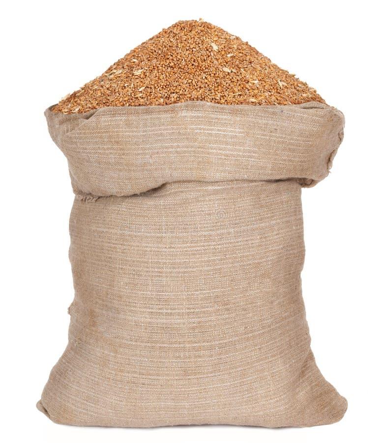 与麦子谷物的袋子 库存照片