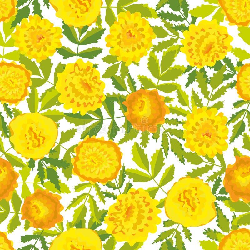 与黄色万寿菊花的无缝的传染媒介样式 向量例证