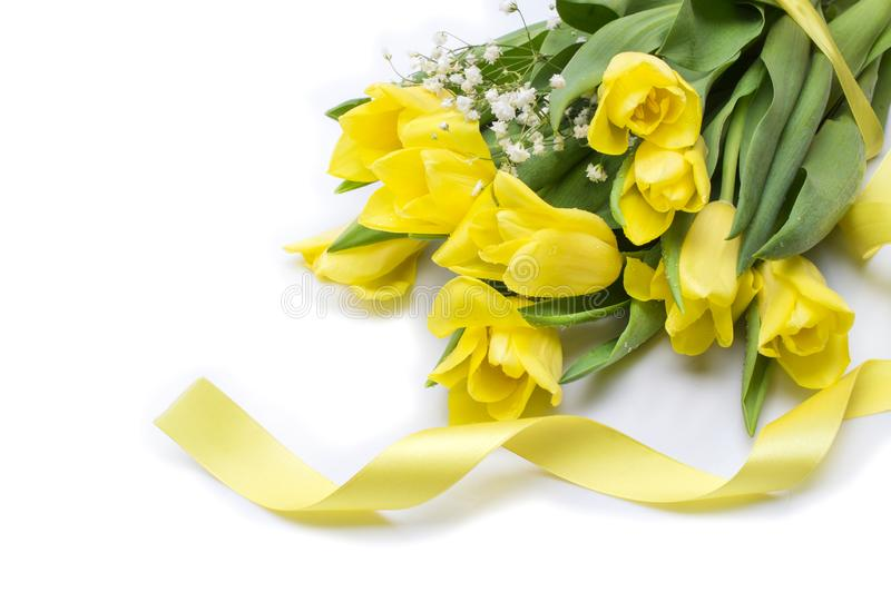 与黄色丝带的黄色郁金香在灰棕色 免版税库存图片