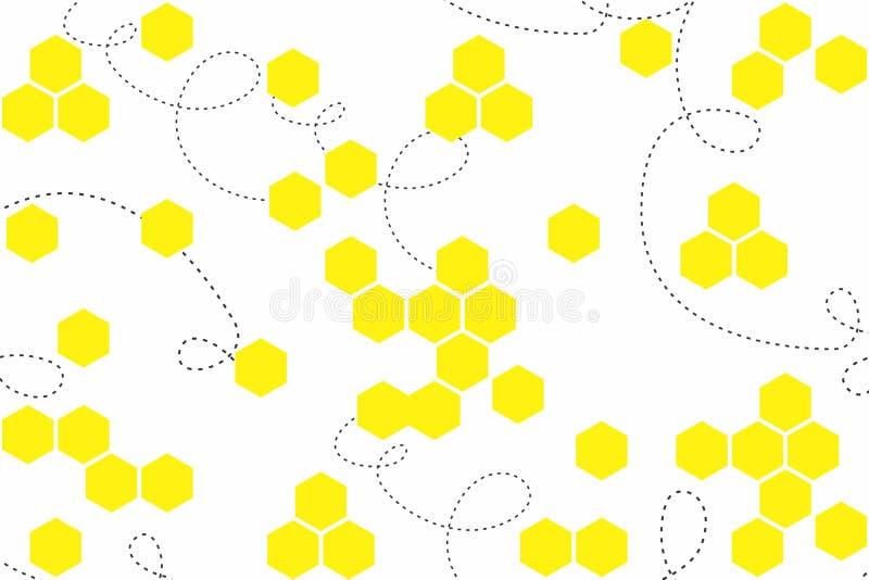 与黄色六角形的抽象几何背景在白色背景 与蜂窝的无缝的纹理 向量例证