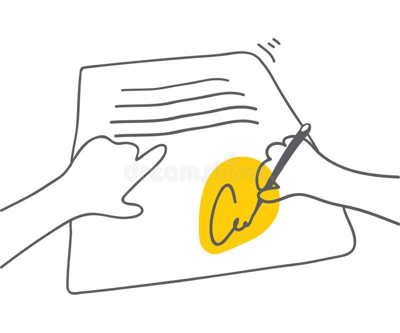 与黄色口音的签署的文件人签署的文件在署名传染媒介平的线性例证契约协议 皇族释放例证