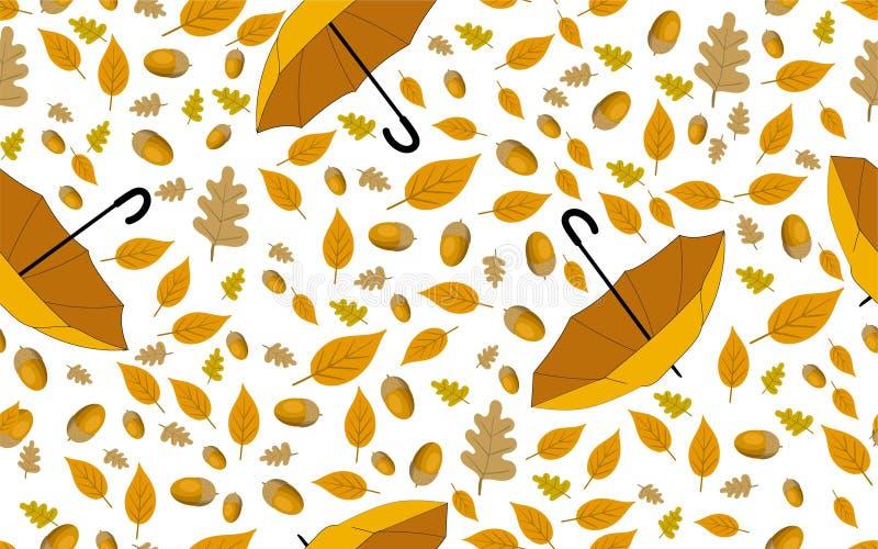 与黄色叶子和雨伞的无缝的秋天样式 库存例证