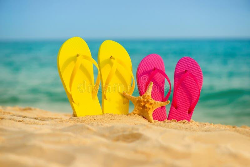 与黄色和桃红色凉鞋的海星在沙子站立以海为背景 库存照片
