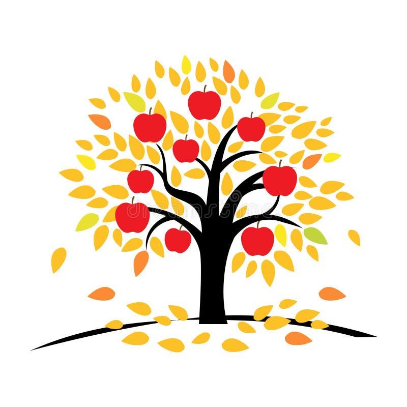 与黄色和桔子叶子的苹果树图片