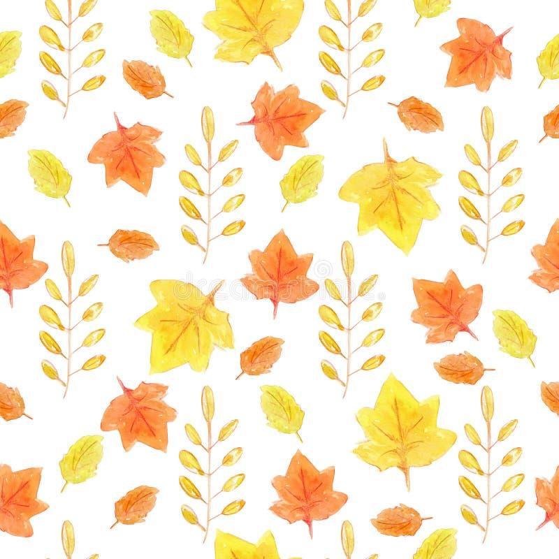 与黄色和橙色秋叶的水彩手拉的无缝的样式 库存例证