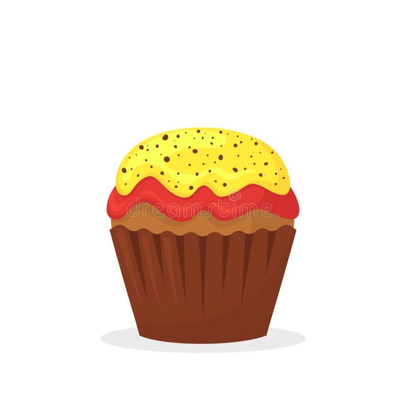 与黄色和红色奶油的巧克力碎片松饼 甜食,与结霜平的传染媒介象的杯形蛋糕 向量例证