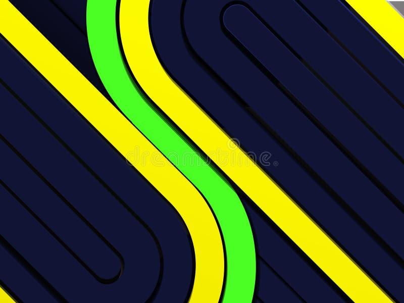 与黄色和绿色条纹的黑暗的techno背景 向量例证