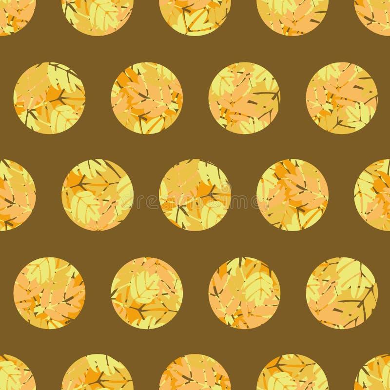 与黄色圈子的无缝的传染媒介样式与秋叶纹理 向量例证