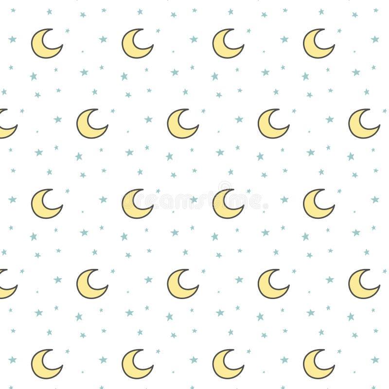 与黄色月亮和蓝星的儿童的样式在白色背景 仿照乱画样式的传染媒介装饰品 库存例证