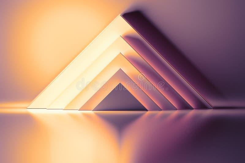 与黄色桃红色金字塔的抽象背景 向量例证