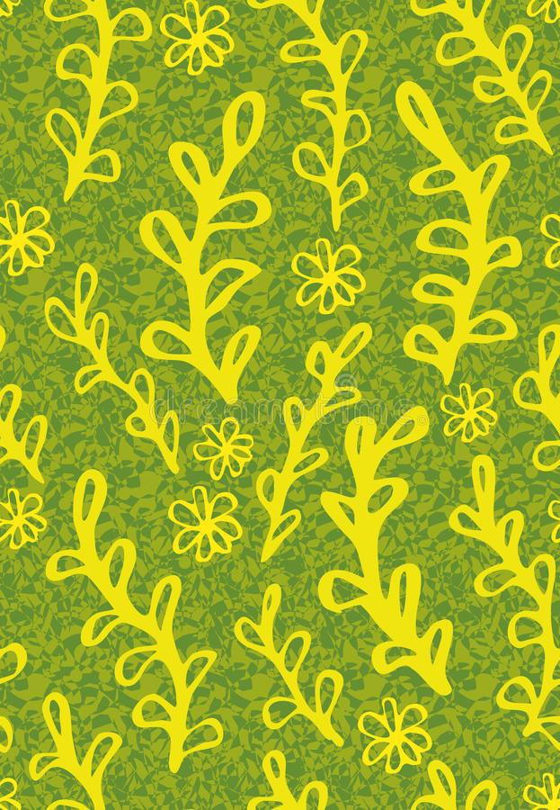 与黄色植物和花乱画的无缝的传染媒介样式在织地不很细背景 库存例证