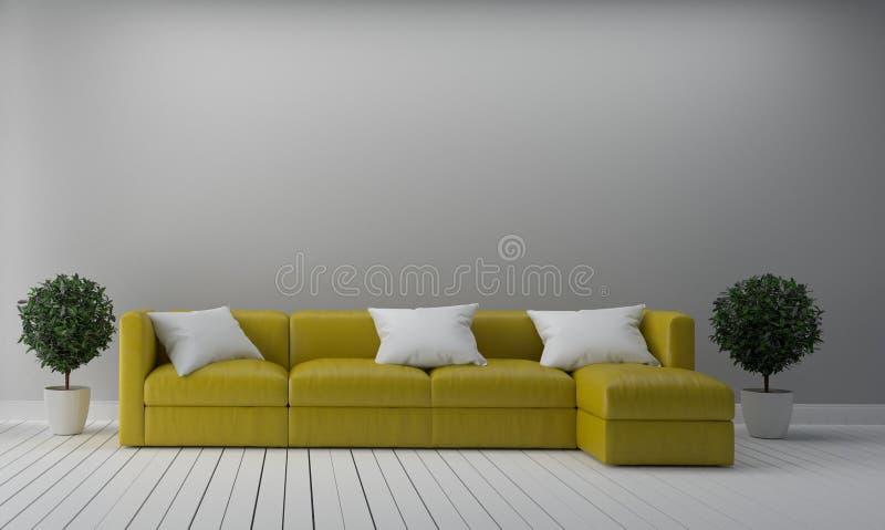与黄色沙发的现代生活和植物倒空白色墙壁背景 3d?? 向量例证