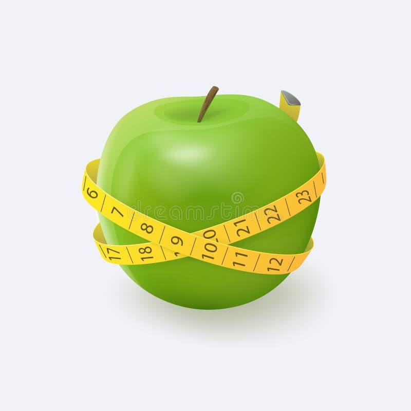 与黄色测量的磁带的绿色苹果 皇族释放例证
