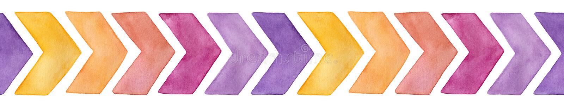 与黄色的不同颜色逗人喜爱的水彩V形臂章箭头的无缝的重复的边界样式,桃红色,紫色变异 向量例证