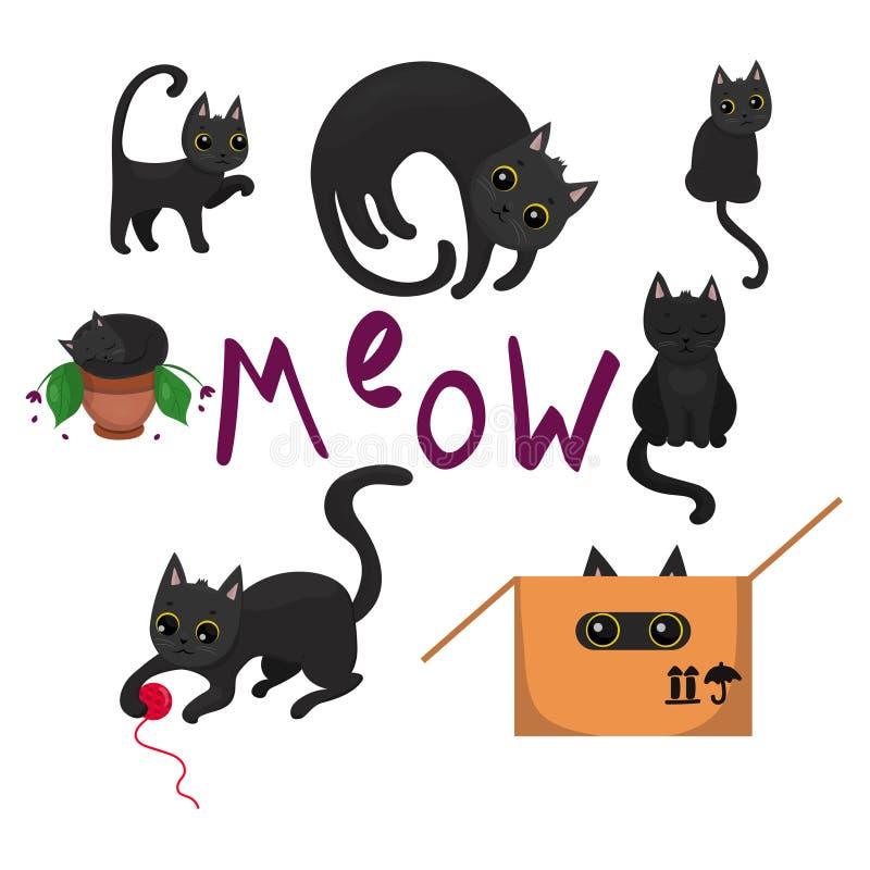 与黄色眼睛的黑小猫在各种各样的姿势图象 皇族释放例证
