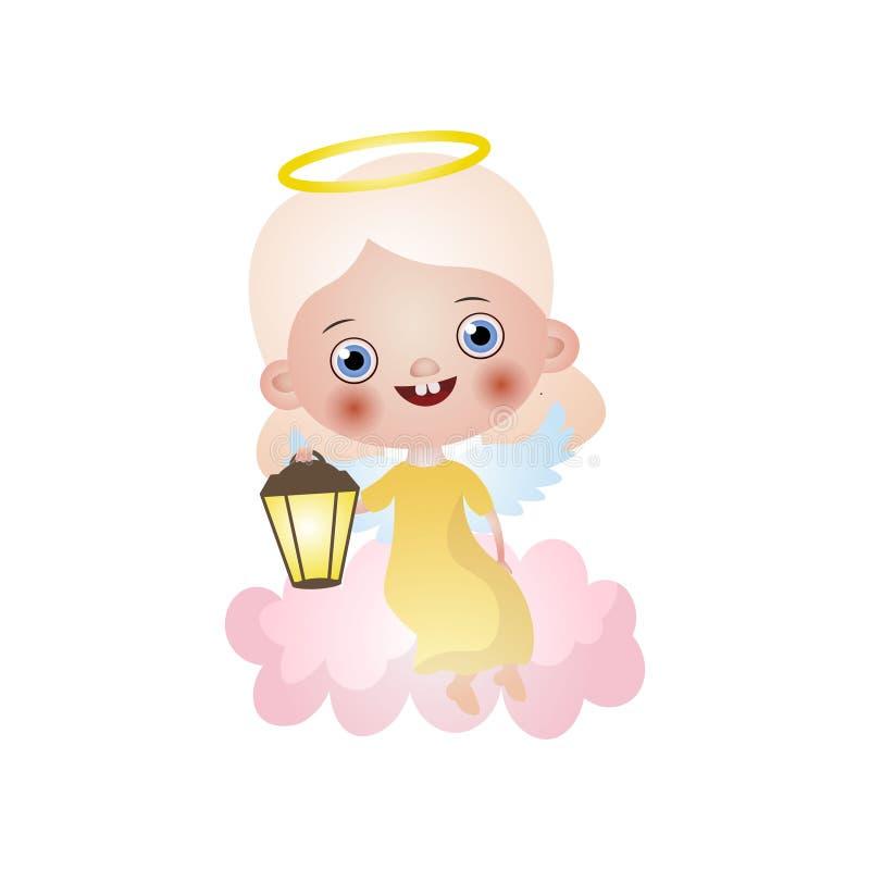 与黄色礼服和轻的灯的逗人喜爱的白肤金发的天使 库存例证