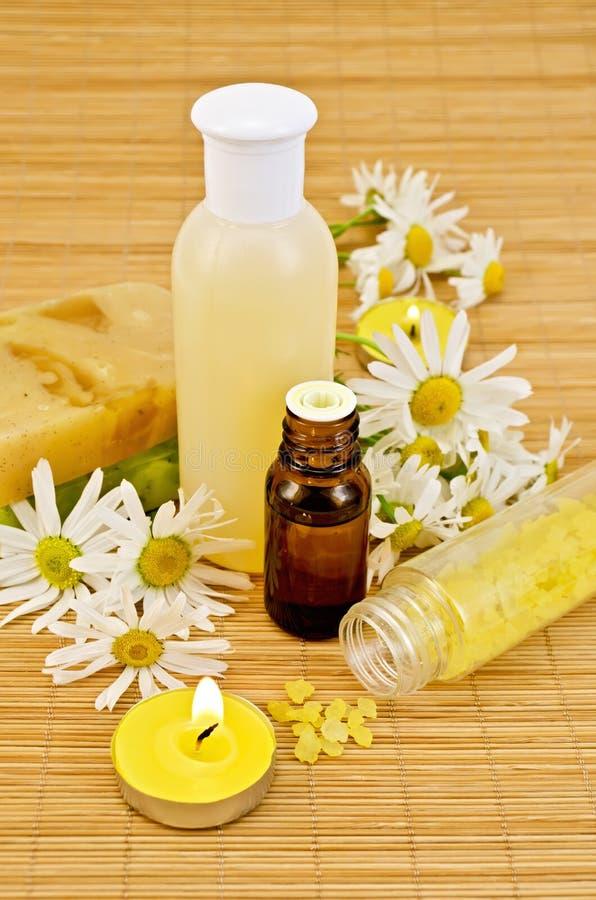 与黄色肥皂和盐的油 库存图片