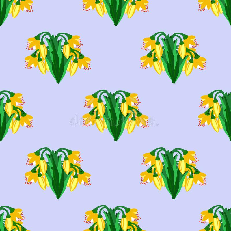 与黄色花的模式 向量例证