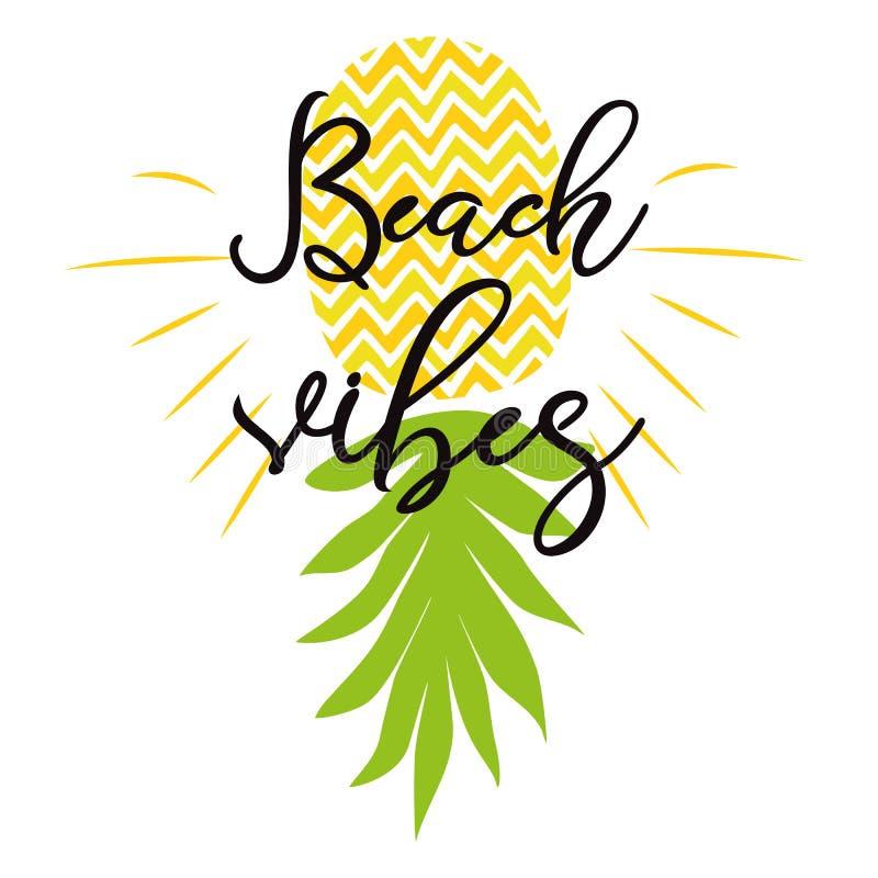 与黄色菠萝暑假印刷品词组海报文本的海滩震动现代印刷术行情设计 向量例证