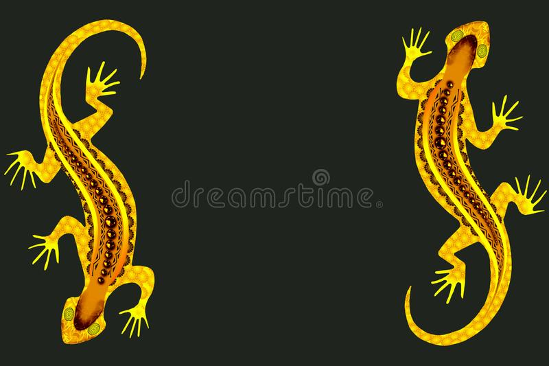 与黄色被仿造的蜥蜴的背景 库存例证