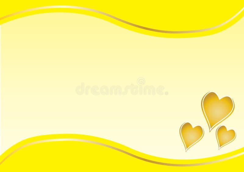 与黄色边界的金心脏 皇族释放例证