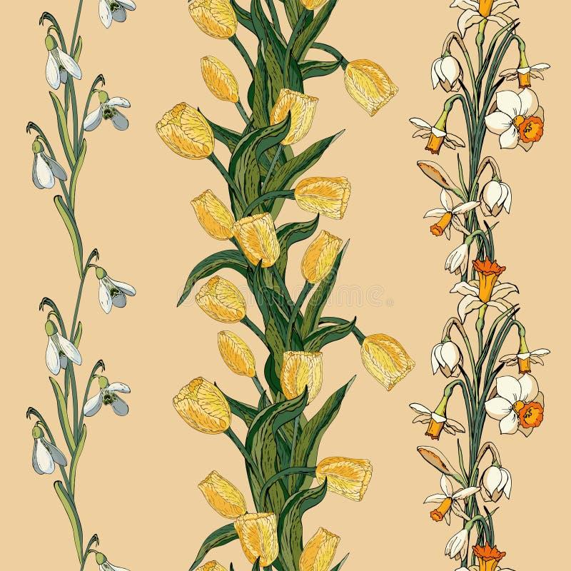 与黄色郁金香、snowdrops和黄水仙的传染媒介花卉无缝的样式 皇族释放例证