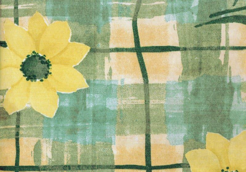 与黄色雏菊的国家织品背景的 库存图片